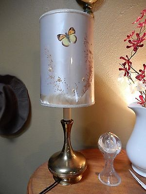 """Mid Century Retro Brass Genie Lamp with Dry Flower Butterfly Shade H 20 1/2"""""""