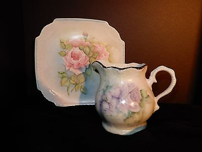 LOVELY Vtg/Ant Porcelain Hand Painted Pnk Lavender Roses Plate/Sm Pitcher Signed