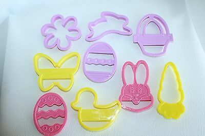 9 Cookie Cutters VINTAGE WILTON Easter Bunny Eggs Basket Carrot Butterfly Duck +