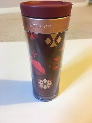 Starbucks 2013 Rose Gold Metal Band Travel Tumbler Thermal 16oz Mug