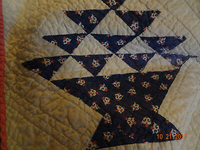 "Lovely Antique Hand Quilted Cake Stand/ Basket Quilt/76""x82""/Very Good Condition"