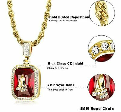 dd085fca5 Hip Hop Iced CZ 14K Gold GP Red Ruby Jesus Prayer Hands Pendant Chain  Necklace