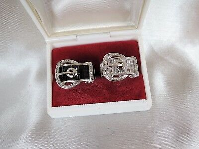 "2 Size 8 High End Estate Vintage ""belt Buckle"" Crystal Rings*clear & Black*wow!!"