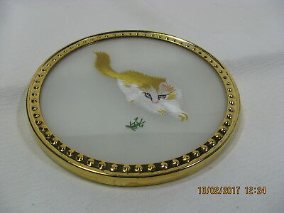 Japanese Silk Thread Art Picture Kitten with Frog – Brass oval frame.
