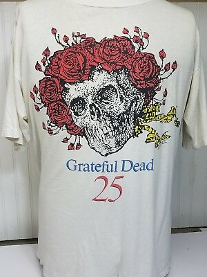 Vintage 1990 Greatful Dead 25 Years T Shirt Well Worn! One Size Fits