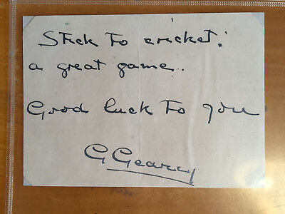 1926 George Geary hand signed signature & short Note on album Page Eng 14 tests