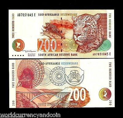 South Africa 200 Rand 127B 1999 *ab*leopard Dish Antena Aunc Currency Bill Note