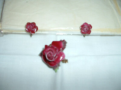 VINTAGE FLORAL CHINA ROSE  BROOCH and CLIP ON EARINGS By ROYAL ADDERLEY 1960's