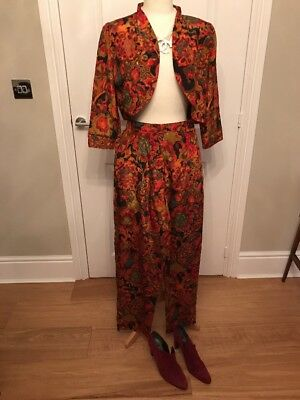 VINTAGE 1980s TROUSER SUIT AUTUMNAL FLOWERS POLYESTER FITTED JACKET