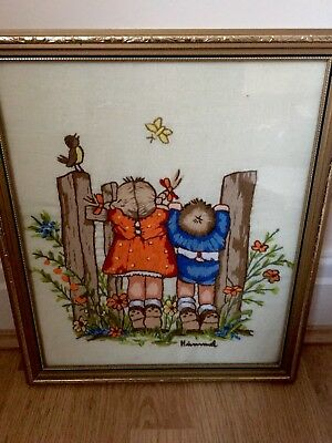 Beautiful Vintage Hand Embroidered Picture