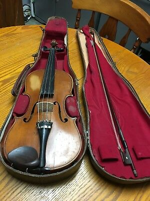 Old/antique? Violin approx 60 Cms Long And Bow In Wooden Case
