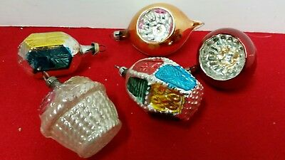 Vintage Christmas Feather Tree Indent Glass  Ornaments