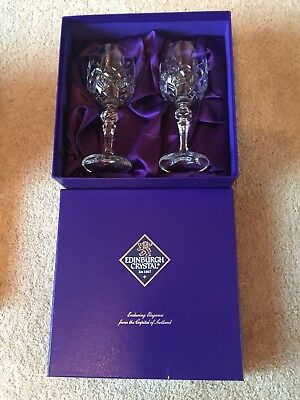 Edinburgh Crystal wine glasses X 2 Boxed In Excellent Condition