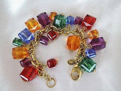 Joan Rivers Chunky Faceted Square Colorful Lucite Bauble Charm Bracelet*amazing!