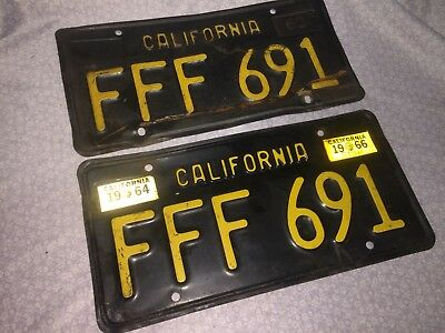 Matched Pair California License Plate 1963. FFF 691