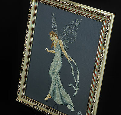 Vintage Made In Canada Petite Point Needlepoint Blue Fairy Princess Goddess