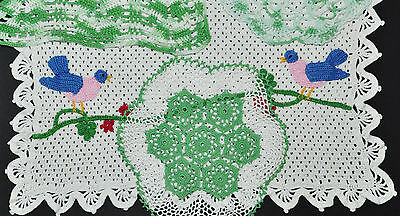 Vintage Hand Made Crochet Lace Doilies Antique Lot Of 4 Green & Petit Point Bird