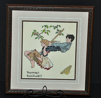 Made In Canada Petite Point Needlepoint Norman Rockwell Boy Girl Dog Swinging