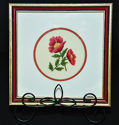 Vintage Petit Point Needlepoint Red Roses Poppies Flowers One Of A Kind Amish