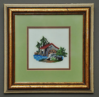 Vintage Made In Canada Petite Point Needlepoint #2 Cabin In The Woods Pro Framed