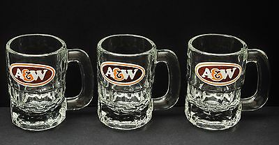 A & W Vintage 1956 Root Beer Set Of 3 Mugs Baby Small Size Heavy Colorless Glass