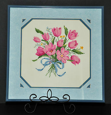 Canada Made Petite Point Needlepoint Blue Pink Tulips Floral Pro Framed Wall Art