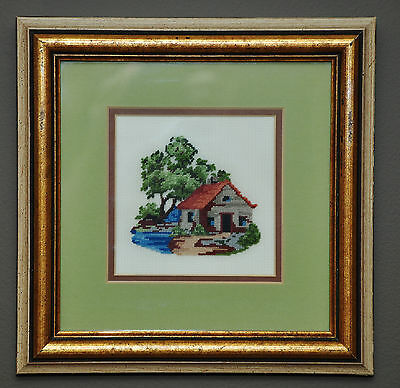 Vintage Made In Canada Petite Point Needlepoint #1 Cabin In The Woods Pro Framed