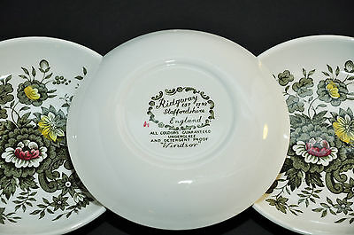 RIDGWAY STAFFORDSHIRE WINDSOR THREE PIN MINT TRINKET COASTERs BUTTER PATs DISH