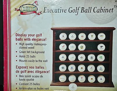 Clubhouse Golf Ball Collectibles Display Cabinet Mahogany Stain Wood Bnib New