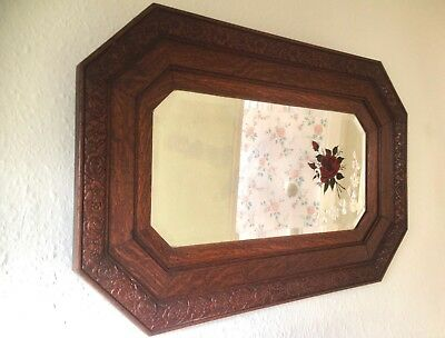Antique Edwardian Oak Framed Octagonal Mirror. Incised Decoration and Rose Motif
