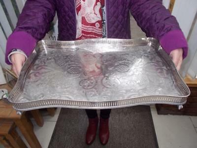 Large Silver Plated Serpentine Gallery Tray Elegant Ball & Claw Feet 45Cm Long
