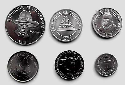 Nicaragua, 6 x uncirculated coins,