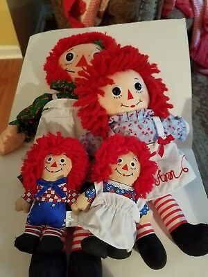 Lot 4 Raggedy Ann and Andy plush stuffed dolls toys