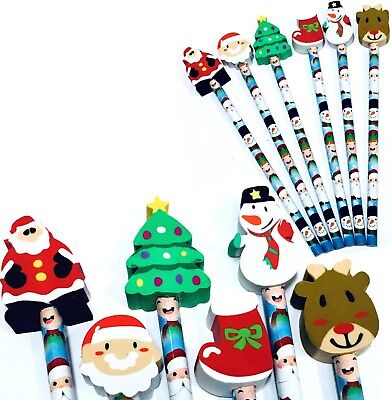6 x CHRISTMAS PENCIL & ERASER TOPPERS XMAS PARTY BAG BOYS GIRLS STOCKING FILLERS