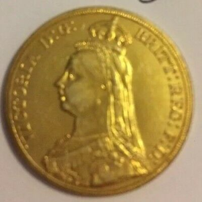 RESTRIKE 1887 Queen Victoria £2 Double Sovereign Gold Plated Uk Collector