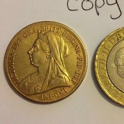RESTRIKE 1893 Queen  Victoria £2 Double Sovereign Gold Plated Coin Collector