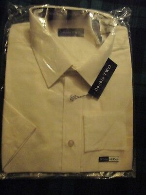 Double Two Dress Shirt In Cream   New    17.5''