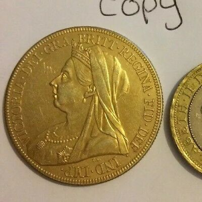 RESTRIKE 1893 Queen Victoria £5 Sovereign Gold Plated Coin Collector