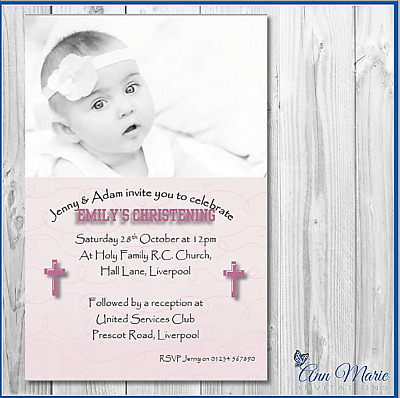 10 Personalised Christening Invitations Card Girl Boy Christening Invite Cards