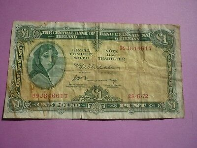 IRELAND - LADY LAVERY ISSUE £1 NOTE DATED 28.6.1972 - SERIAL PREFIX 99J - P64c