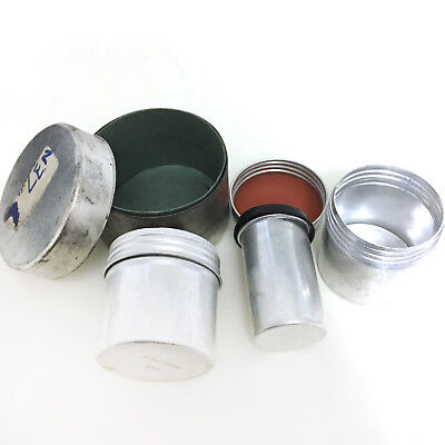 FOUR 4 x Vintage Old Metal Aluminium Film Can Cannister Pot 35mm