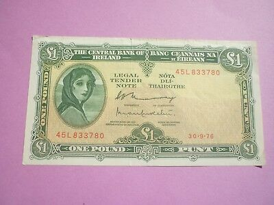 IRELAND - LADY LAVERY ISSUE £1 NOTE DATED 30.9 1976 - P64d - VF+
