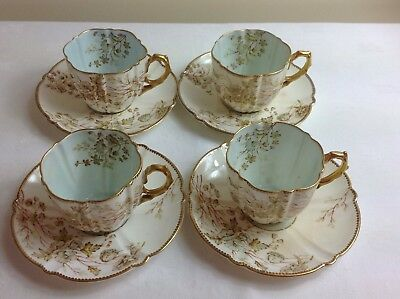 C.1890-95 Rare Antique Aynsley Fine Bone China Floral 4 Tea Cups + Saucers