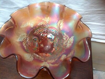 "Vintage  Carnival Glass Dugan "" Marigold"" Ruffled 3-Ball Feet Bowl Bonbon Dish"