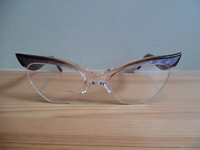 Vintage Ladies Pearly Violet & Brown Cat Eye Glasses