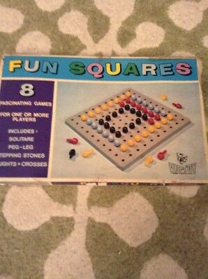 Vintage1970's  Pegs And Board Puzzle - 'Fun Squares'
