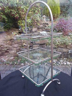1930s ART DECO 3 TIER SILVER PLATED CAKE STAND ORIGINAL PLATE GLASS PLATTERS