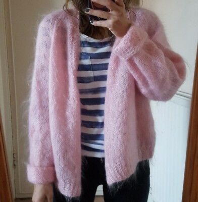 Vintage Handmade Mohair (?) Pink Fluffy Cardigan