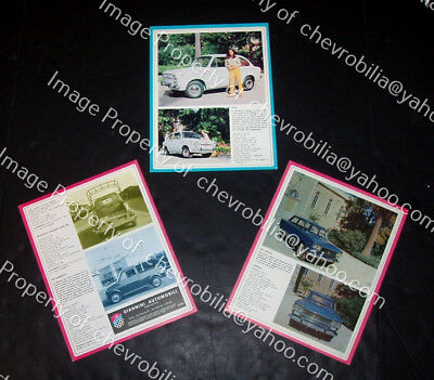 1966 1967 GIANNINI 500 750 850 950 1300 1500 (3) Sheets BROCHURES MicroCar FIAT