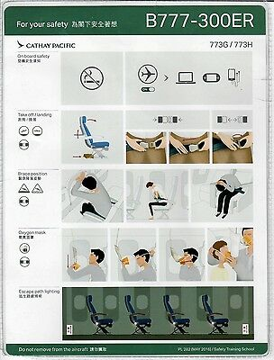 Safety Card CATHAY PACIFIC BOEING 777-300ER *NEW* 773G/773H
